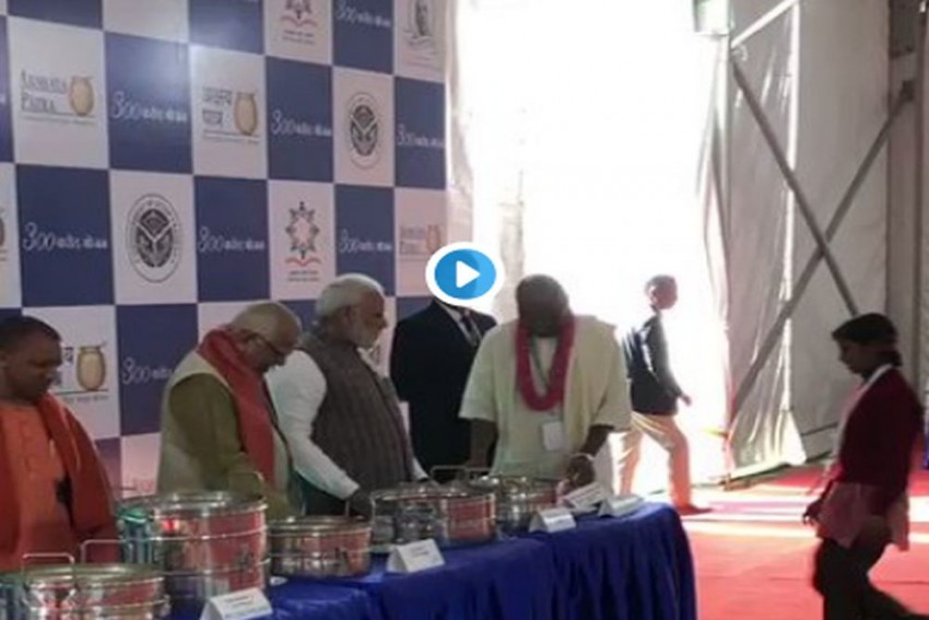 Prime Minister Modi Serves Food To School Children In Vrindavan