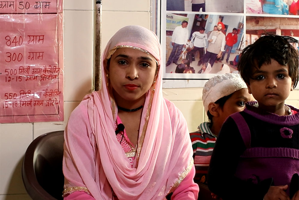 Shakeela with her kids at a NGO in Delhi.