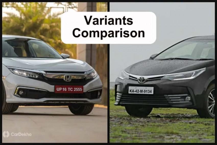 2019 Honda Civic Vs Toyota Corolla Altis: Variants Comparison