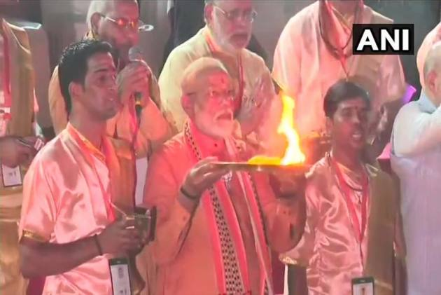 PM Narendra Modi Holds Roadshow In Varanasi, Performs Ganga Aarti