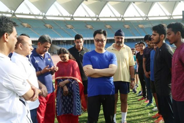 India's Sports Minister Kiren Rijiju Surprises Athletes At Jawaharlal Nehru Stadium With A Visit