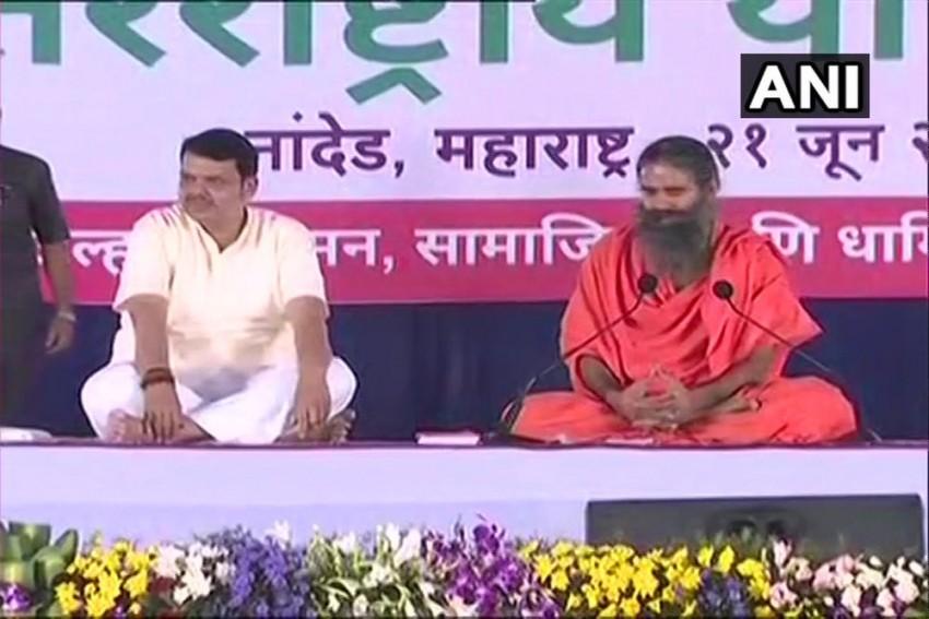 Ramdev, Maharashtra CM Perform Yoga On World International Yoga Day