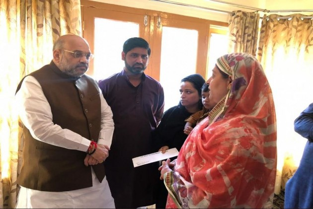 In Kashmir, Amit Shah Starts His Day By Visiting Slain Cop's Family