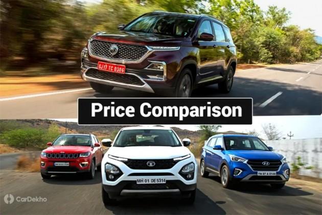 MG Hector vs Tata Harrier vs Jeep Compass vs Hyundai Creta: What Do The Prices Say?