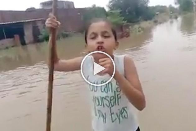 Watch: 10-Year-Old Girl Turns Journalist To Report Floodwaters In Haryana's Kurukshetra