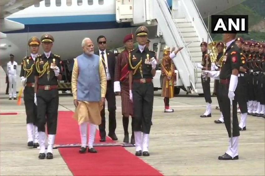 PM Modi Arrives In Bhutan, Receives Guard Of Honour