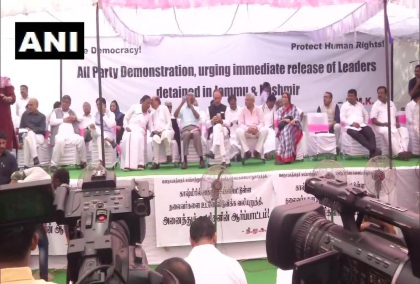 Opposition Parties Protest At Jantar Mantar, Demand Release Of Leaders Detained In Jammu And Kashmir