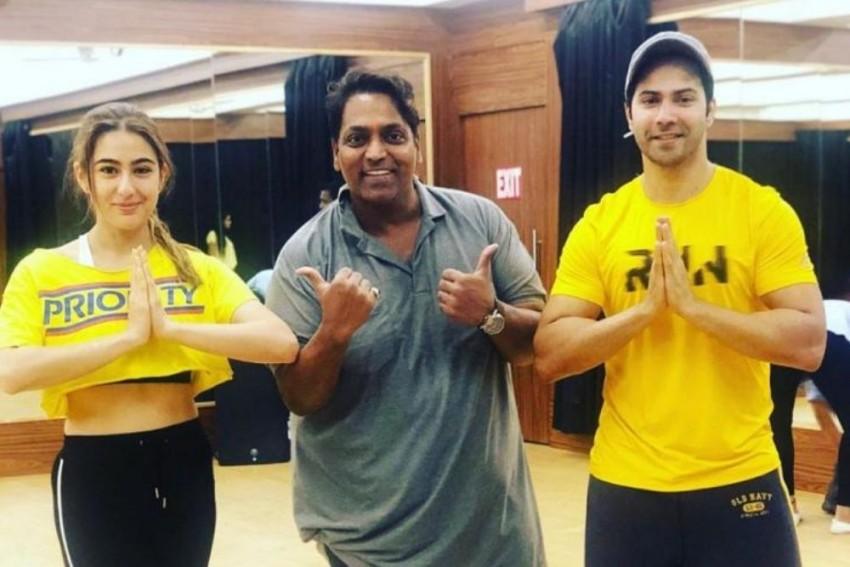 Coolie No 1: Sara Ali Khan And Varun Dhawan Ace the Twinning Game As They Pose With Choreographer Ganesh Acharya