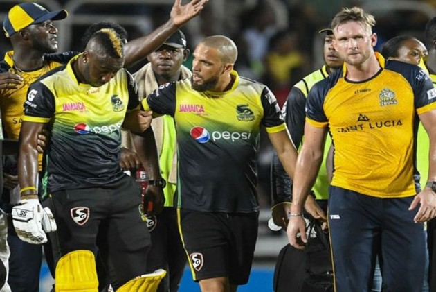 Andre Russell Suffers Nasty Blow To Helmet In CPL, Taken To Hospital - WATCH VIDEO
