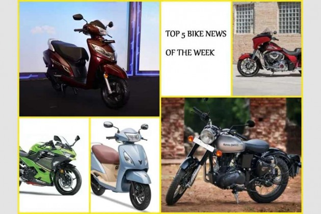 Top 5 Bike News Of The Week: Affordable RE Classic 350, New Honda Activa 125 6G and TVS Jupiter Grande with Bluetooth launched, 2020 Ninja 400, new Indian Motorcycles range & More