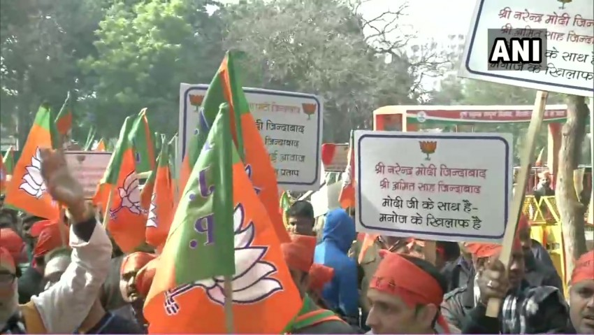 Delhi Assembly Elections: BJP Workers Protest Over Ticket Distribution Outside Party Office