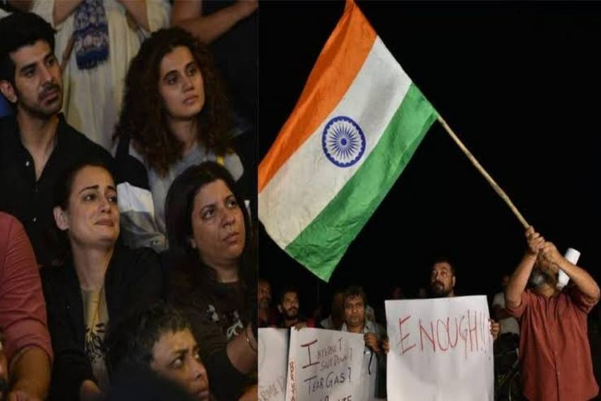 Taapsee Pannu, Dia Mirza And Other Bollywood Celebrities  Musical Protest In Mumbai Against JNU Violence.