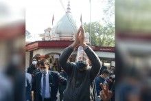 Farooq Abdullah Prays For Peace At Durga Nag Temple In Jammu & Kashmir
