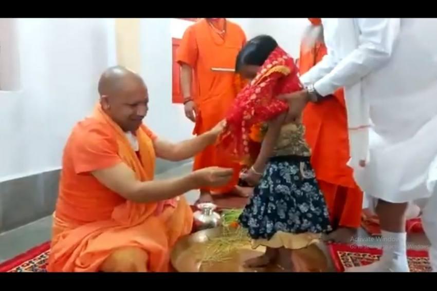 CM Adityanath Performs 'Kanya Pujan' At Gorakhnath Temple