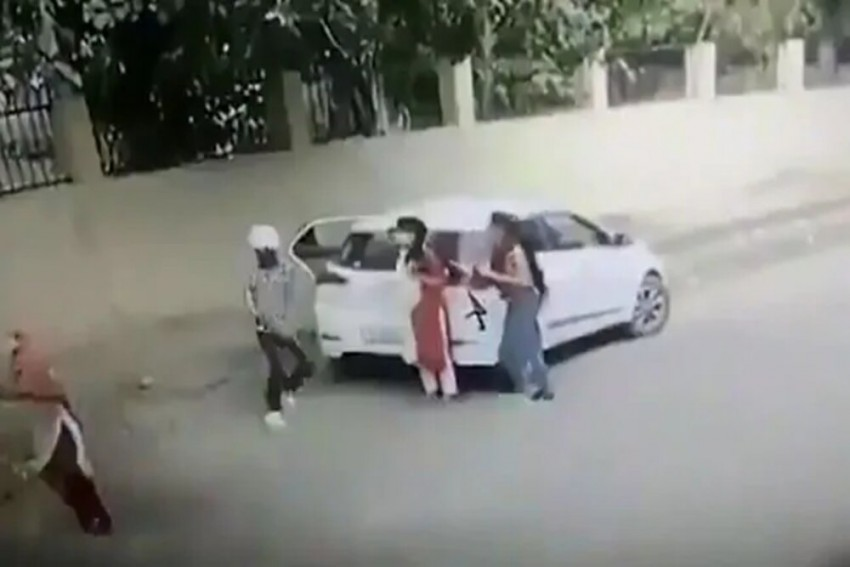 Shocking Video Shows Woman Being Shot At Outside College Premises In Haryana