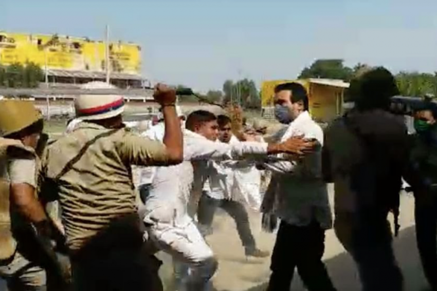 Hathras Case: UP Police Lathicharges RLD Leader, Party Stages Protest
