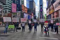 Protests Staged At Times Square Demanding Justice For Hathras Gang-Rape Victim