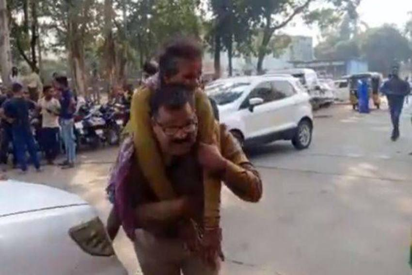 Madhya Pradesh Cop Who Carried Injured Woman On His Back Wins Hearts