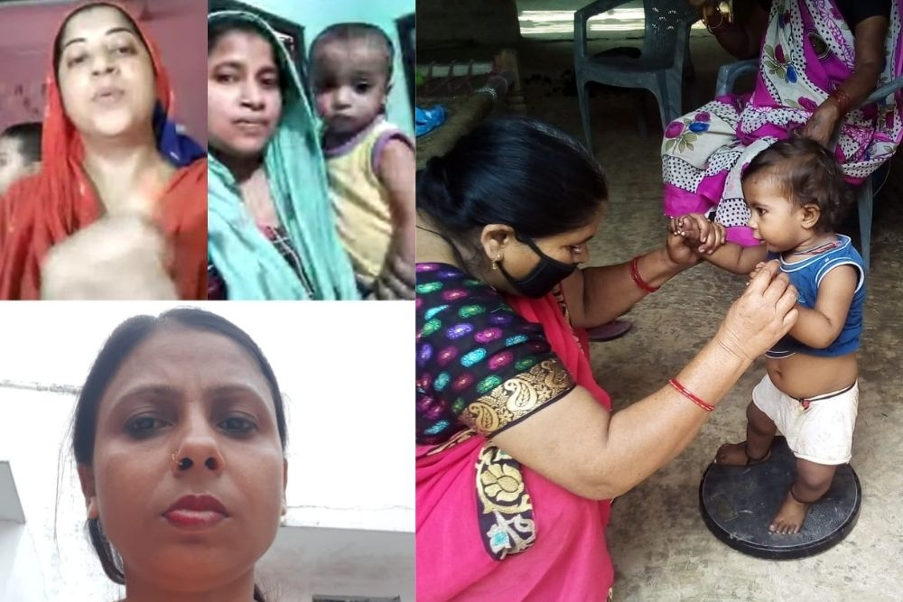 A nutrition expert giving advice over video call (L) and Asha worker checking weight of a malnourished child during home visit (R)