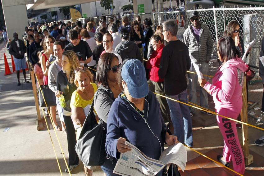 Long Lines Seen Outside Polling Stations As Americans Head To Vote
