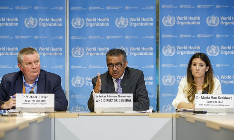 Executive Director of the World Health Organisation (WHO), Michael J Ryan and Director General Dr Tedros Adhanom Ghebreyesus.