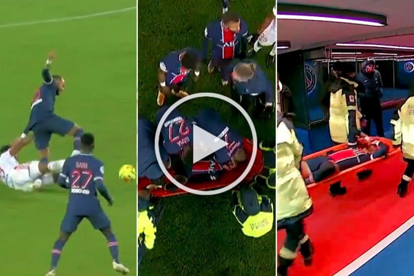 PSG 0-1 Lyon: Nasty Tackle! Tearful Neymar Leaves On Stretcher - VIDEO