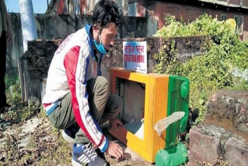 This Man In Assam Is Making Comfortable Homes For Street Dogs Using Discarded TV Sets