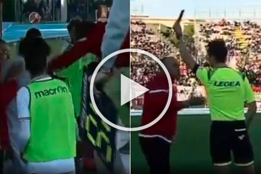 Truly Bizarre! Football Coach Sent Off For Slapping Own Player - WATCH