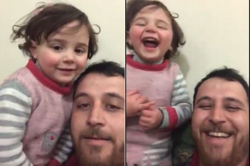 To Distract 4-Year-Old Daughter, This Syrian Father Teaches Her To Laugh Every Time A Bomb Drops