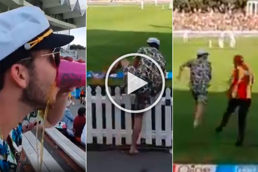 NZ Vs  IND, 1st Test: Crazy Scenes At Basin Reserve As Drunk Cricket Fan Invades Pitch - VIDEO
