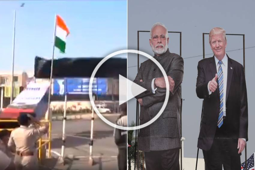 Donald Trump In India: Entry Gate At Motera Stadium Collapses Ahead Of US President's Ahmedabad Visit - WATCH