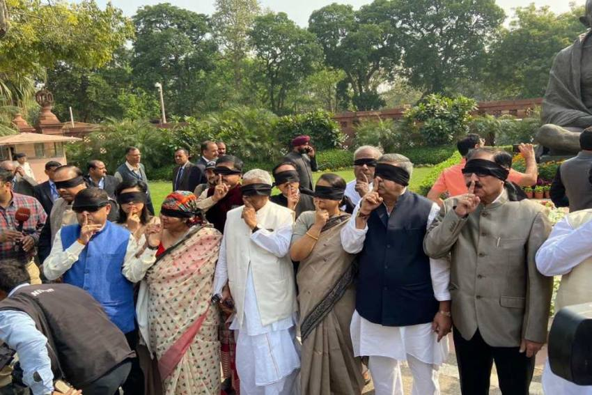 Opposition Parties Protest Outside Parliament Over Delhi Violence