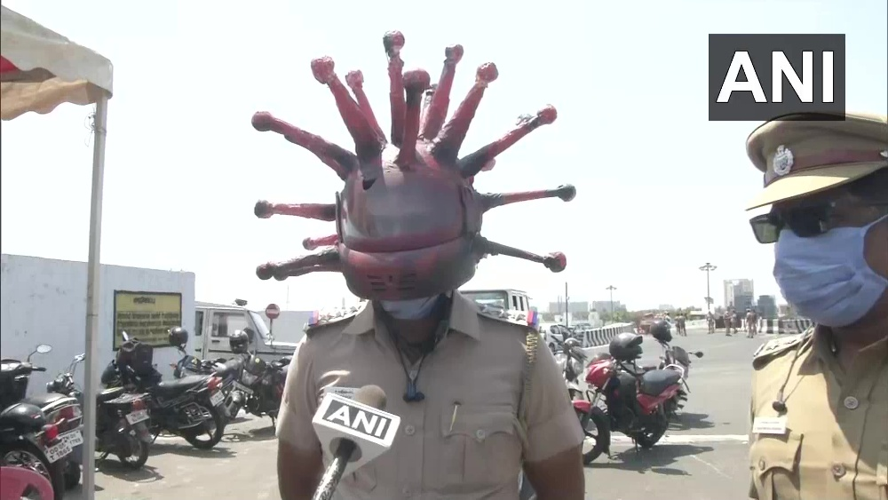 'Thought This Would Scare Them To Stay Home': Chennai Police Try Coronavirus Helmet