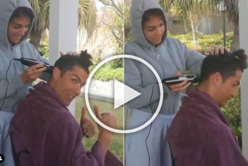 Cristiano Ronaldo Gets A Haircut From Girlfriend Georgina Rodriguez Watch Viral Video