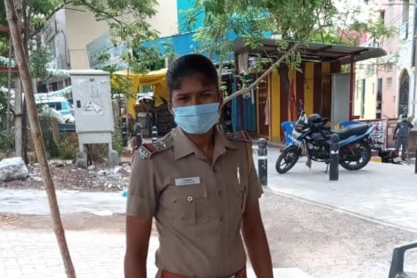 India Women Footballer Indumathi Kathiresan Busy Enforcing Lockdown In Police Uniform