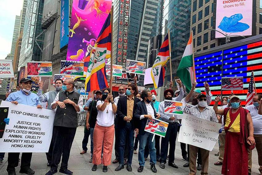 Indian-Americans Hold 'Boycott China' Protest At Times Square In New York