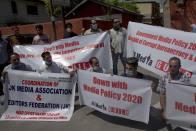 Kashmiri Journalists Protest Against New Media Policy In Srinagar