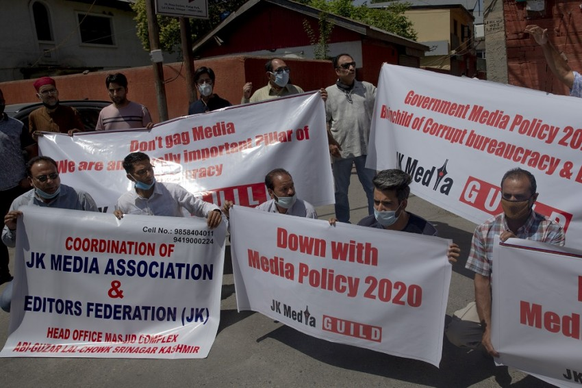 Kashmiri Journalists Protest Against New Media Policy In Srinagar