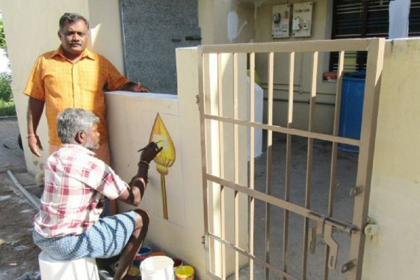 Tamil Homes Paint 'Vels' To Protest Against Rationalist Group's 'Offensive' Video On Lord Muruga