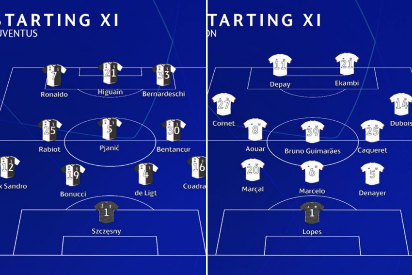 Juventus Vs Lyon: Starting XIs Confirmed - Dybala, Moussa Dembele Warm Champions League Bench