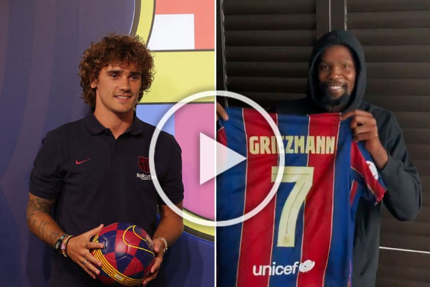 Antoine Griezmann Finally Gets Barcelona No 7 As Nba Star Kevin Durant Delivers Big Reveal Watch