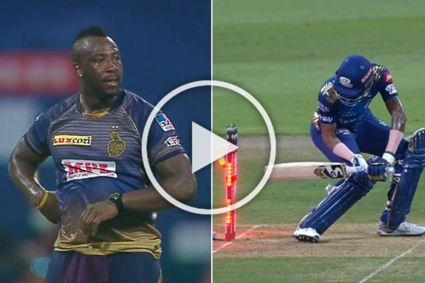 IPL 2020, KKR Vs MI: Hardik Pandya Hits His Own Stumps Facing Andre Russell - Watch The Stunning Moment