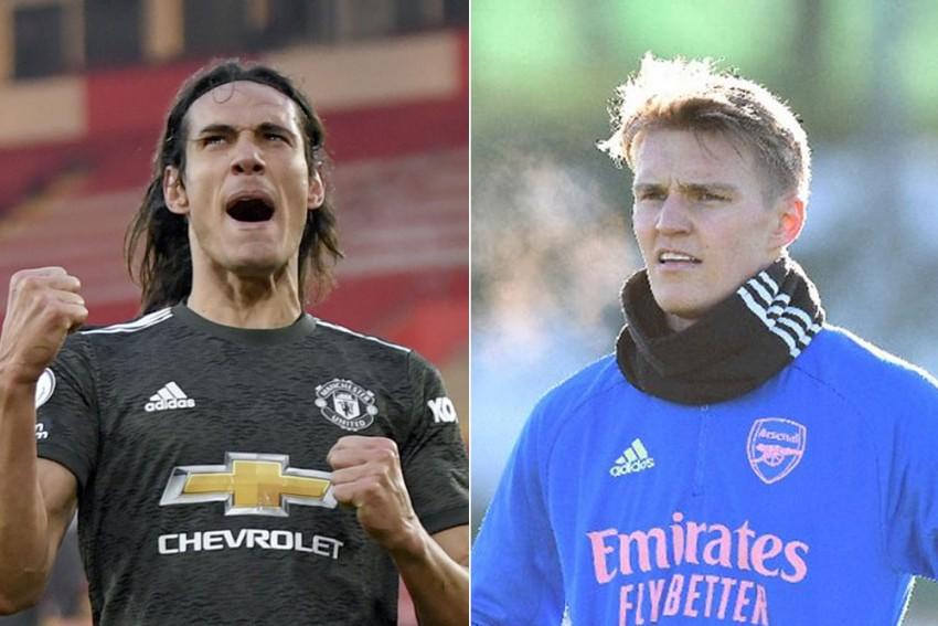 Arsenal Vs Manchester United: Cavani Gets Nod Over Martial, Odegaard On Bench For Saka-less Gunners