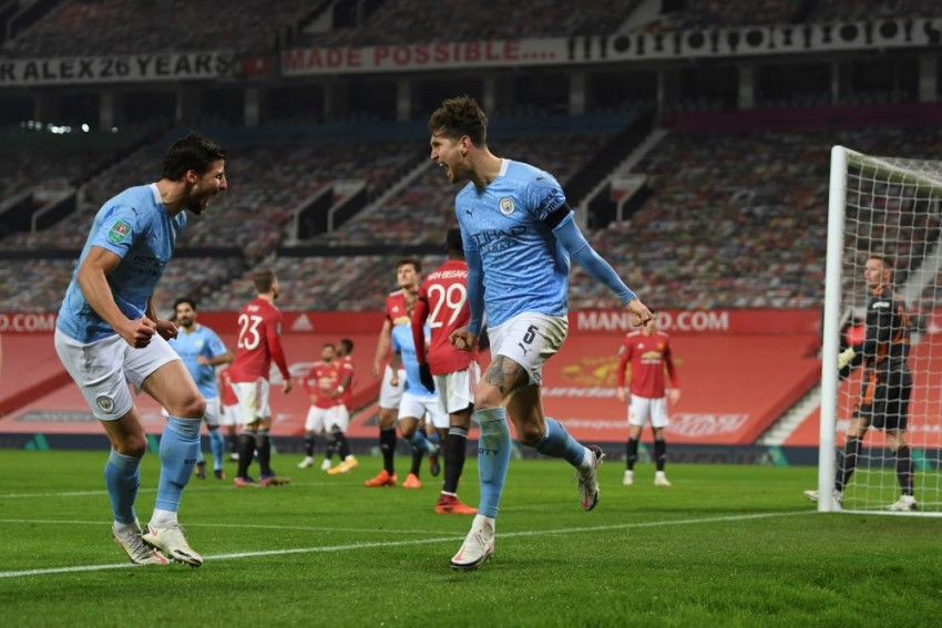 John Stones Ends Goal Drought As Man City Beat Man United 2-0 To Reach EFL Cup Final