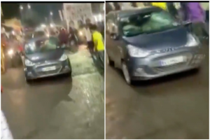 Watch: Four Including A Cop Injured As Speeding Car Rams Into Durga Idol Procession In MP