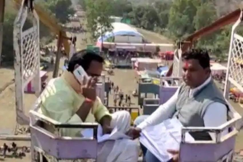 Sick Of Poor Signal, MP Minister Climbs Atop 50-Ft High Swing For Better Connectivity