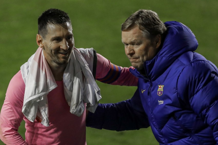Ronald Koeman Hits Out At 'Disrespectful' PSG As Angel Di Maria Encourages Lionel Messi Transfer Talk