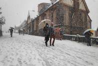Tourists Welcome First Snowfall Of The Year In Shimla; Check Pics