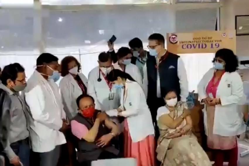 Watch: Health Minister Harsh Vardhan Receives Covid-19 Shot With Wife Nutan In Delhi