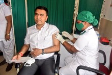 Goa CM Pramod Sawant Receives First Covid Vaccine Shot